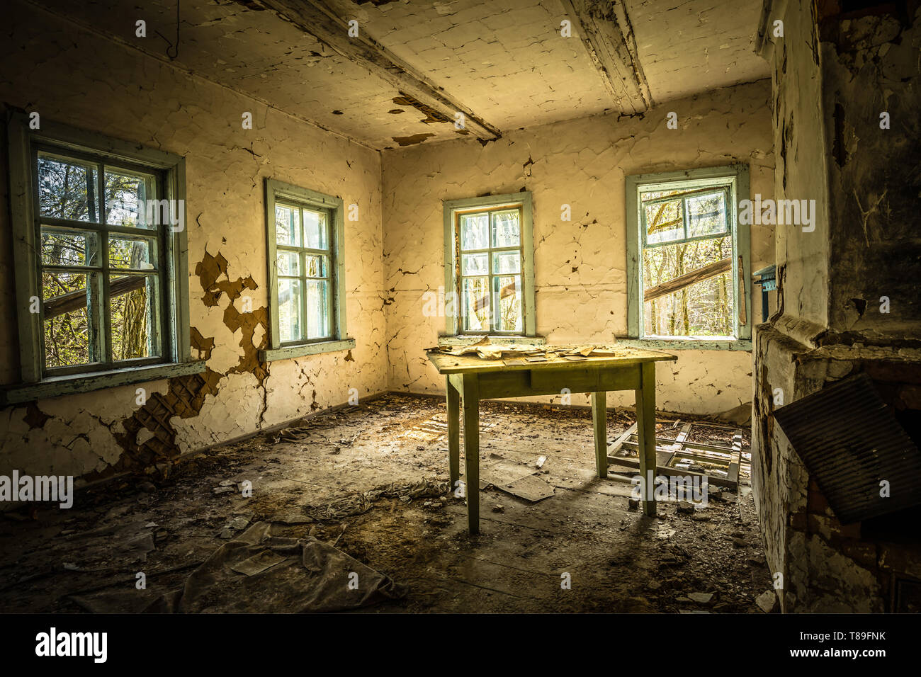 Abandoned school with ghost in Belarus Chernobyl exclusion zone, recently opened for the public from april 2019. - Stock Image