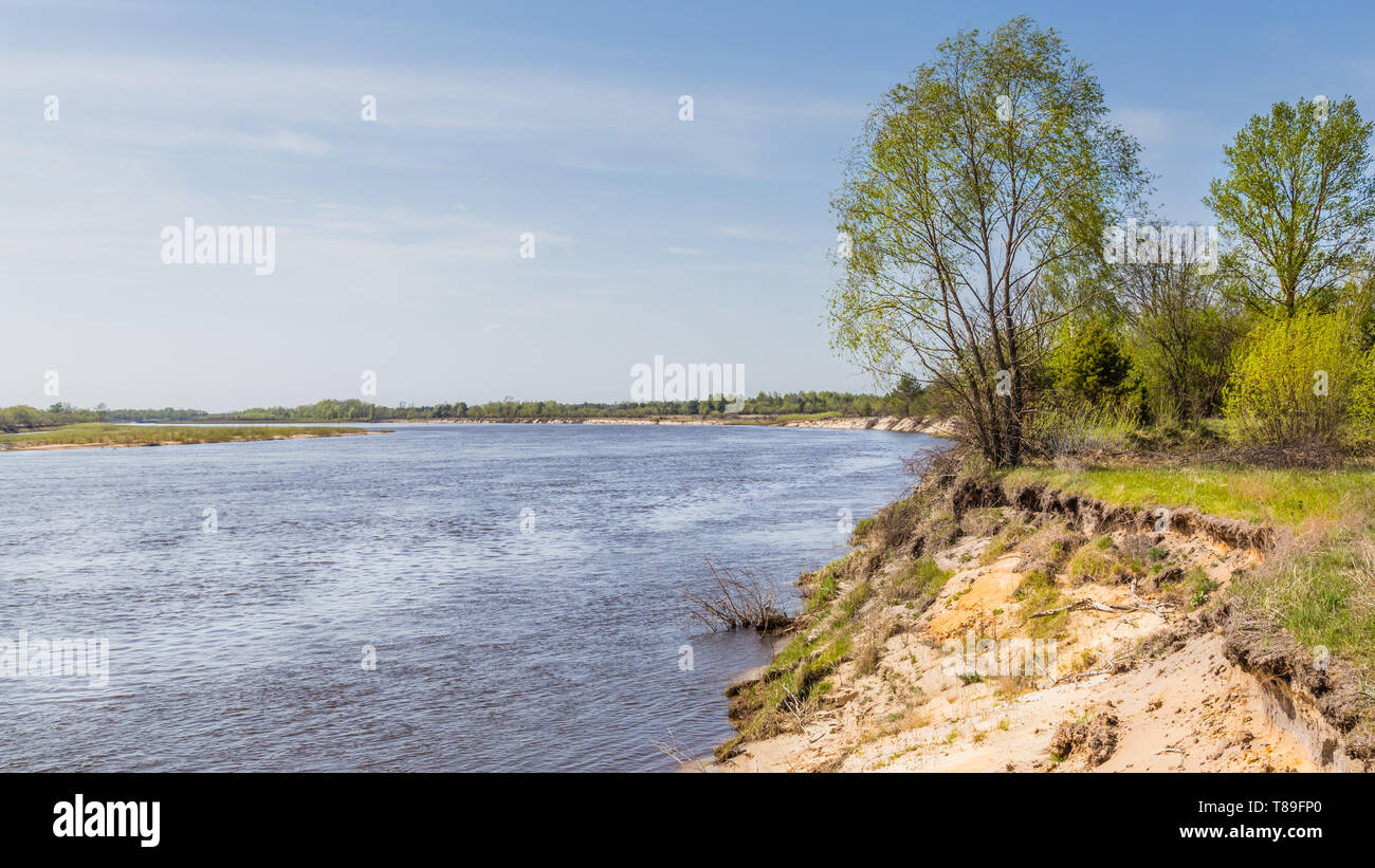Pripyat river passing the exclusion zone establisehed around the Chernobyl nuclear disaster. Belarus site. - Stock Image