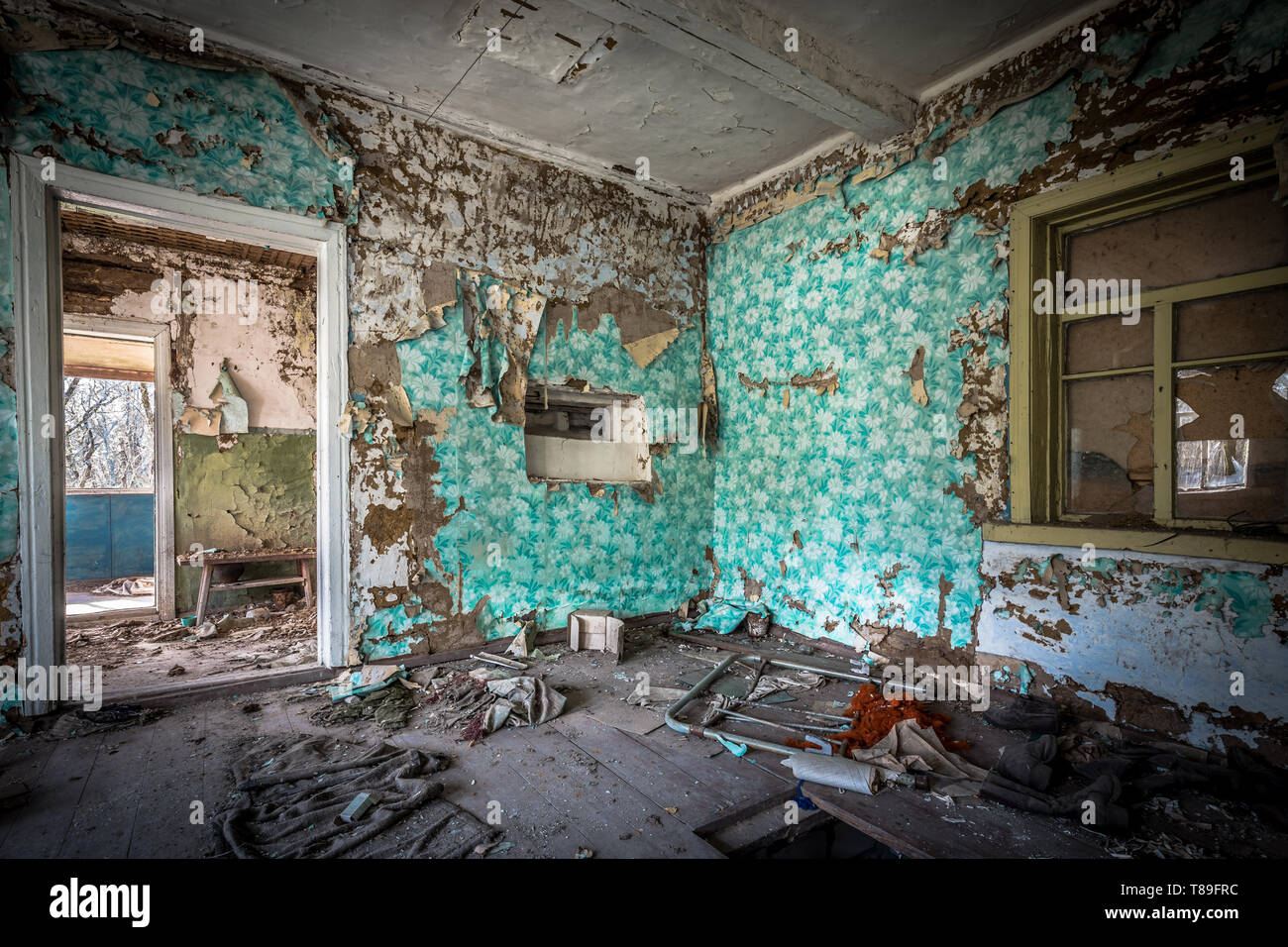 Interior of  an abandoned little house in Belarus Chernobyl exclusion zone, recently opened for the public from april 2019. - Stock Image