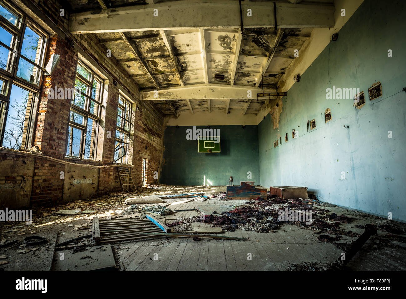 Sports hall in an abandoned school in Belarus Chernobyl exclusion zone, recently opened for the public from april 2019. - Stock Image