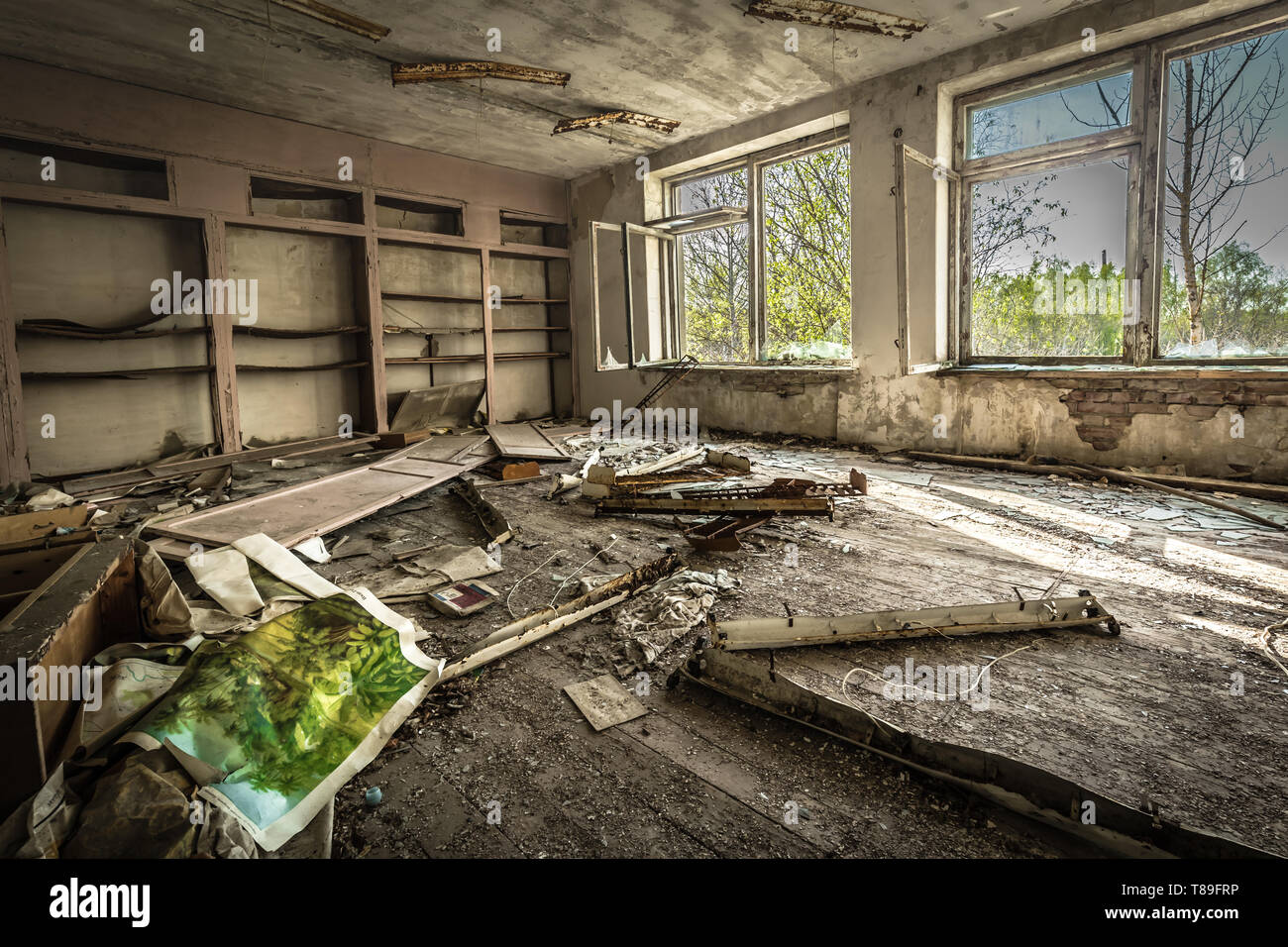 Class room in an abandoned school in Belarus Chernobyl exclusion zone, recently opened for the public from april 2019. - Stock Image