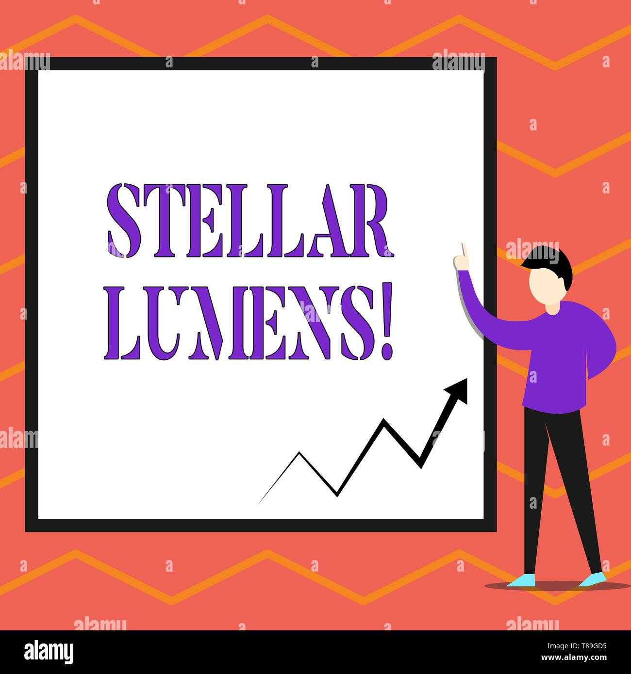 Writing note showing Stellar Lumens. Business concept for cryptocurrency platform that uses on remittance and payments - Stock Image