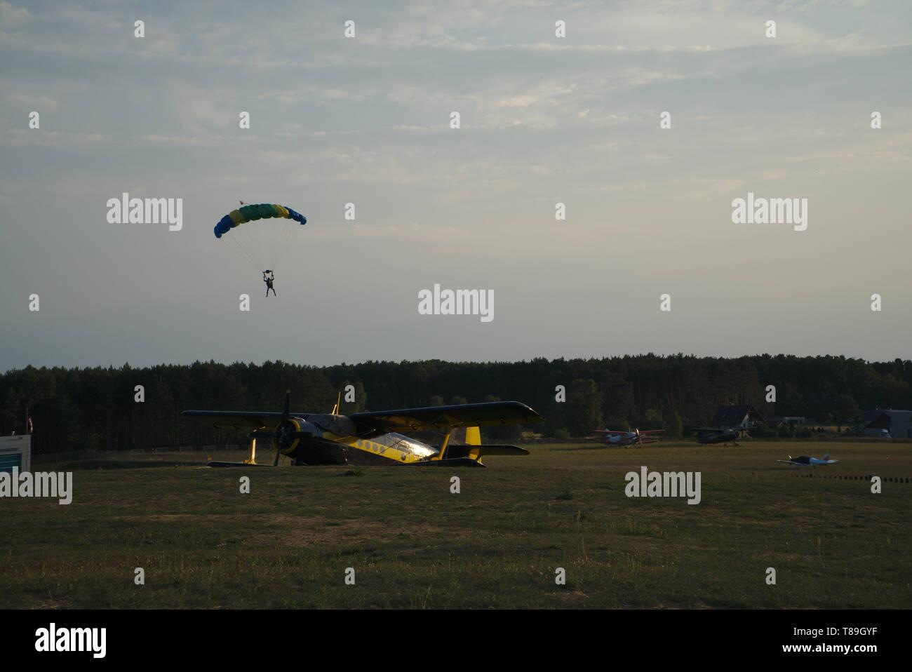 Paraglider landing Stock Photo