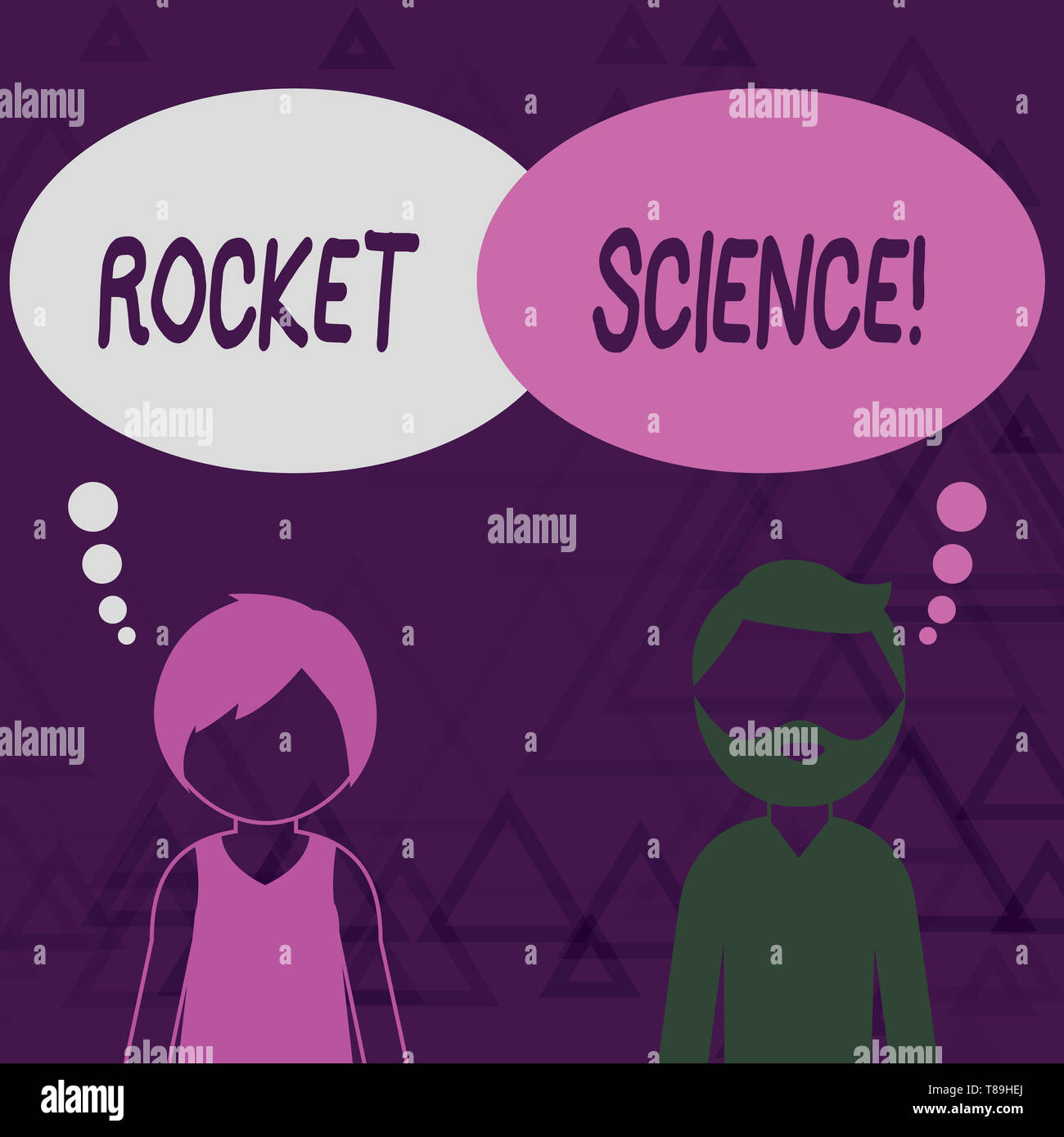 Writing note showing Rocket Science. Business concept for difficult activity that you need to be intelligent to do Bearded Man and Woman with the Blan - Stock Image