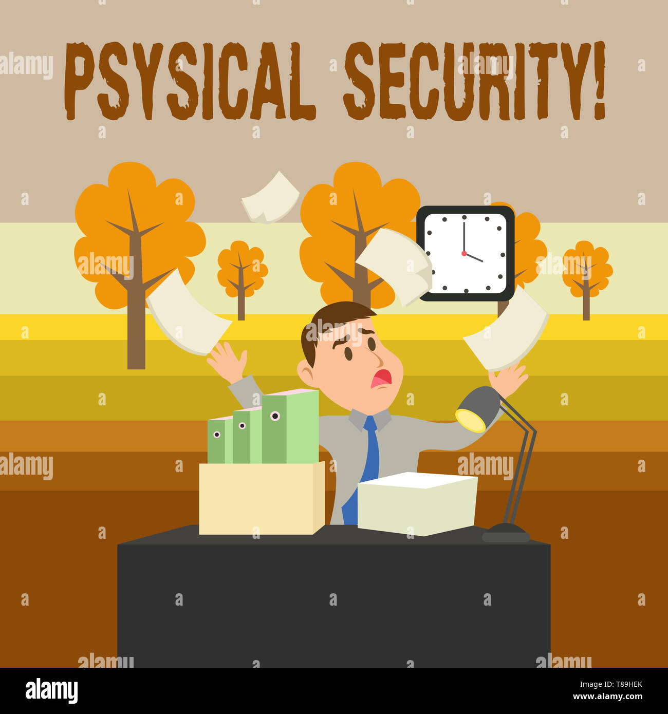 Conceptual hand writing showing Physical Security. Concept meaning designed to deny unauthorized access to facilities - Stock Image