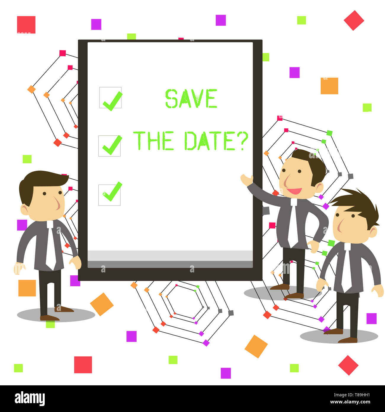 Handwriting text Save The Date question. Conceptual photo asking someone to remember specific day or time - Stock Image