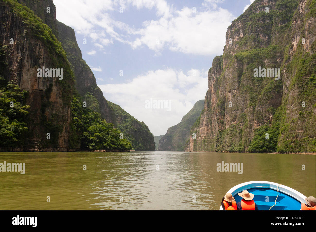 The Canyon of the Sumidero, is a narrow, deep canyon located 5 km from Tuxtla Gutiérrez, capital of the state of Chiapas, Mexico; within the municipal - Stock Image