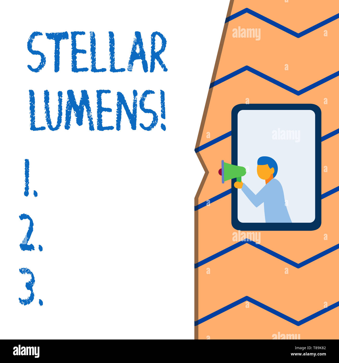 Conceptual hand writing showing Stellar Lumens. Concept meaning cryptocurrency platform that uses on remittance and payments - Stock Image