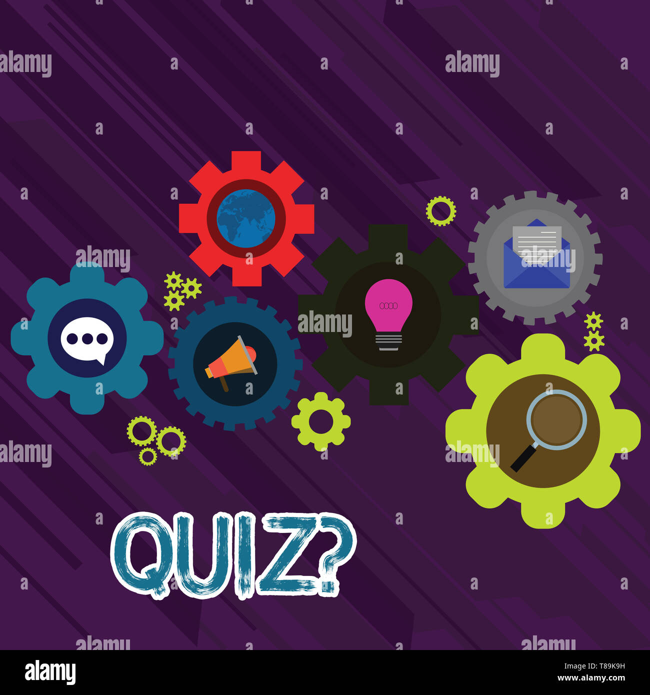 Text sign showing Quiz Question. Business photo text test of knowledge as competition between individuals or teams Set of Global Online Social Network - Stock Image