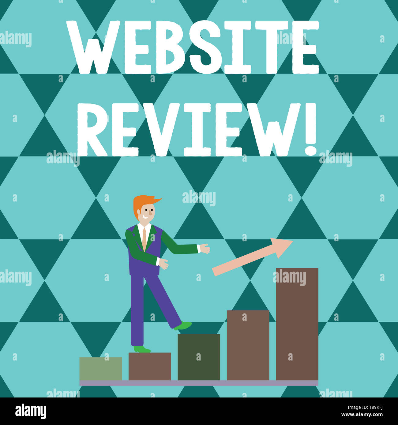Word writing text Website Review. Business photo showcasing the customer ratings and assessments of businesses or service Smiling Businessman Climbing Stock Photo
