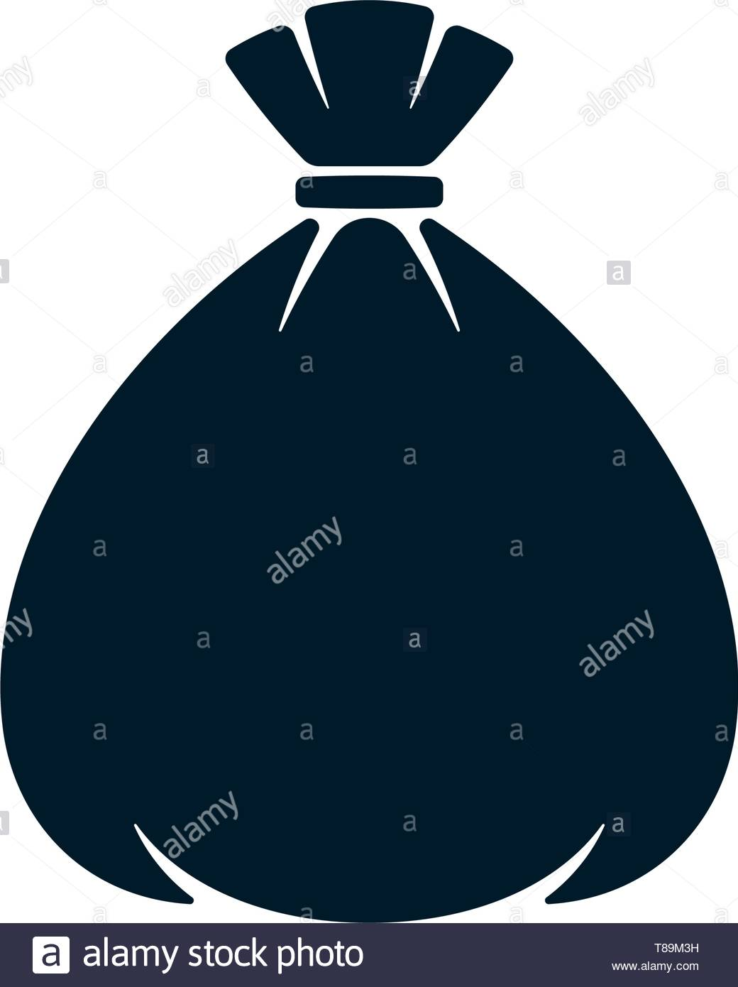 Tied sack on white background. Money bag abstract icon. - Stock Vector