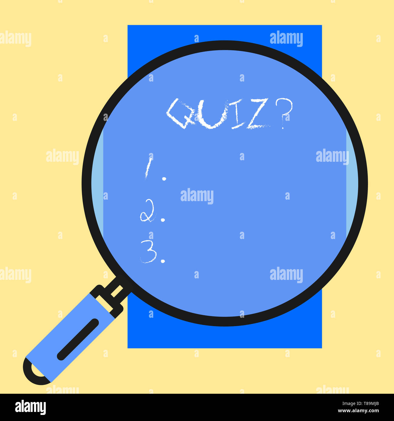 Conceptual hand writing showing Quiz Question. Concept meaning test of knowledge as competition between individuals or teams - Stock Image