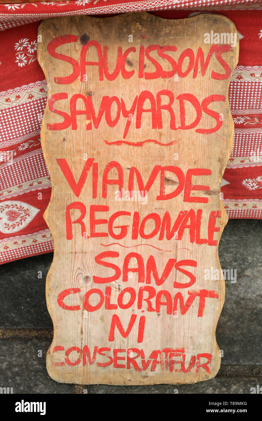 Saucissons savoyards. Viande régionale. - Stock Image