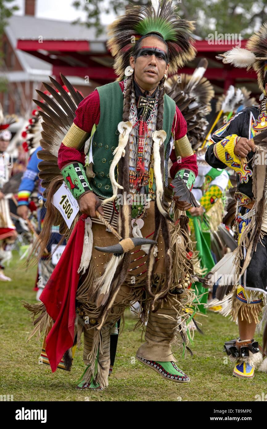 United States, North Dakota, Bismarck, annual intertribal powwow, Sioux indians - Stock Image