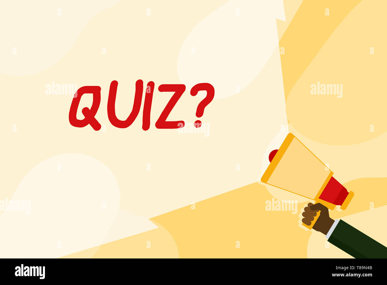 Text sign showing Quiz Question. Business photo text test of knowledge as competition between individuals or teams Hand Holding Megaphone with Blank W - Stock Image