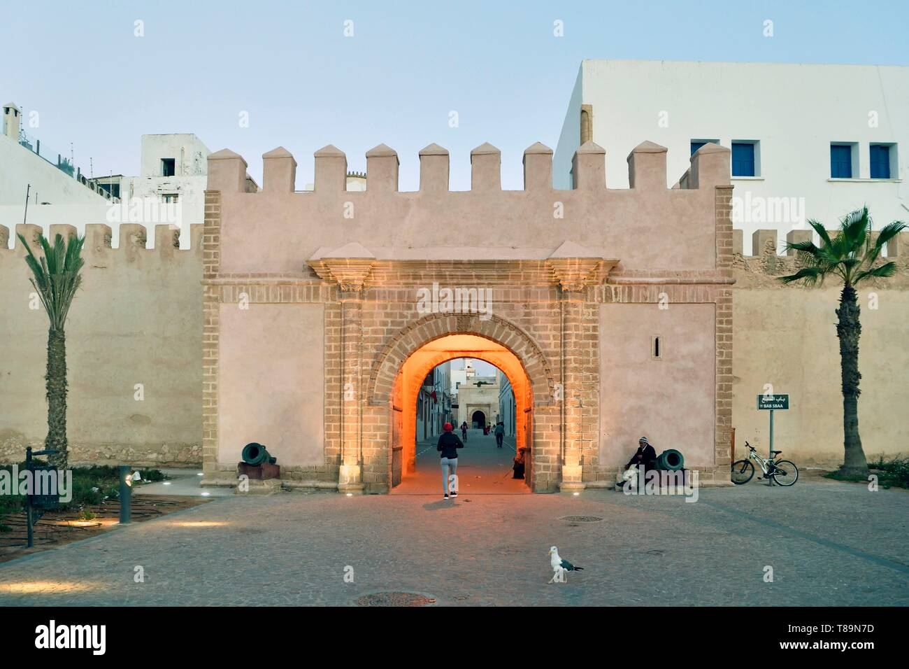 Morocco, Mogador, Marrakesh Safi region, Essaouira, listed as World Heritage by UNESCO, old city, fortifications of the medina, Bab es Sebaa gate Stock Photo