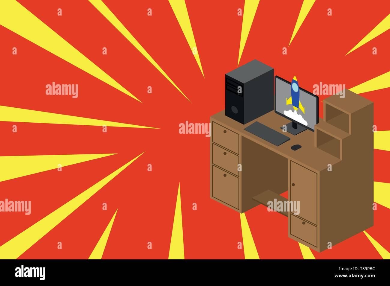 Working desktop station drawers personal computer launching rocket clouds. Design business concept Empty template copy space text for Ad website isola Stock Vector