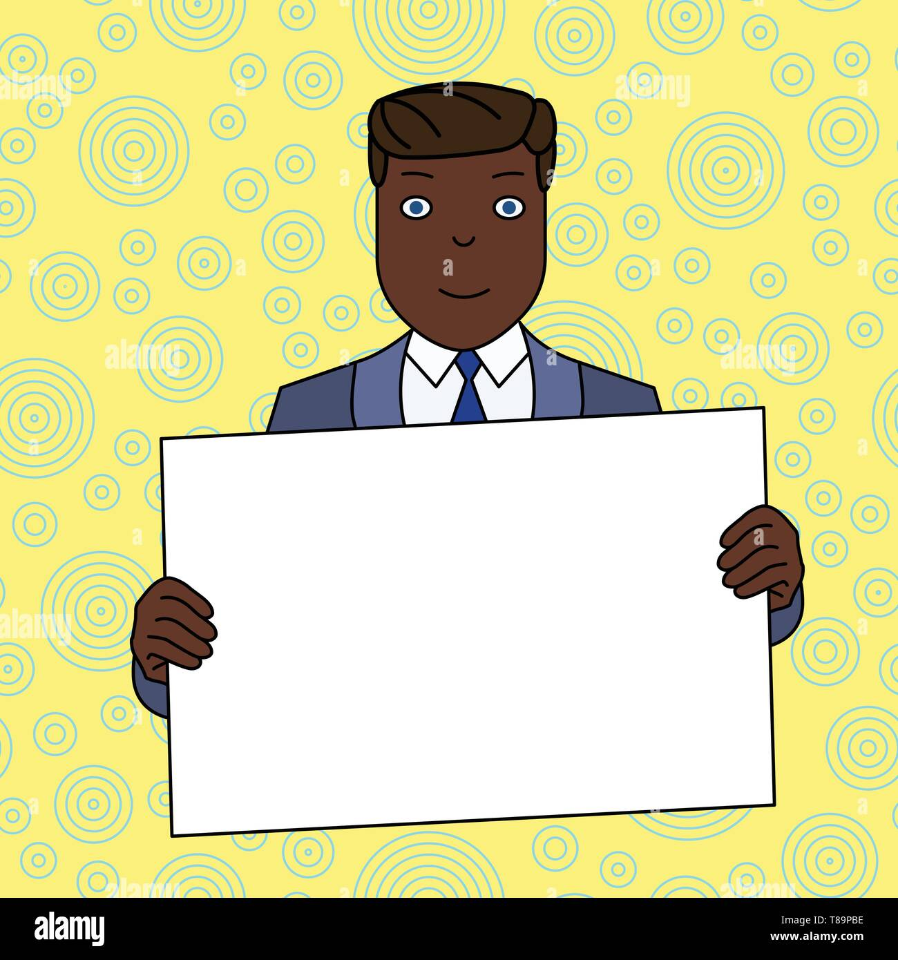 Smiling Man Holding Formal Suit Big Blank Poster Board In