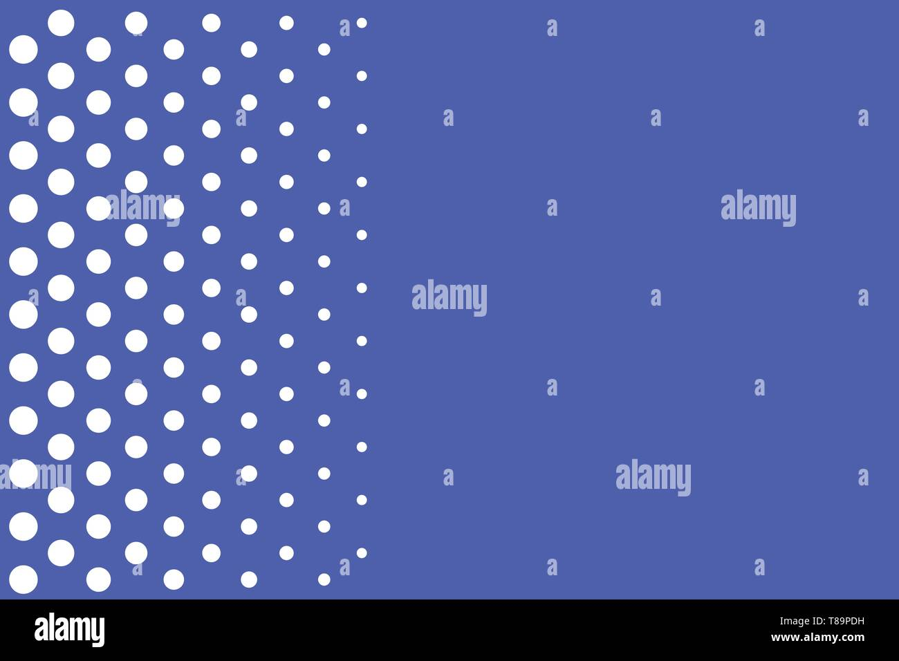 Decreasing points size background other half without drawing. Polka dots Design business Empty template isolated Minimalist graphic layout template fo - Stock Vector