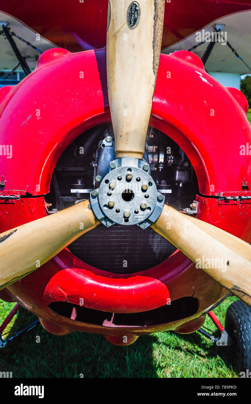 Propeller and nose of red vintage Murphy Renegade bi-plane at Delta Heritage Airpark. Stock Photo