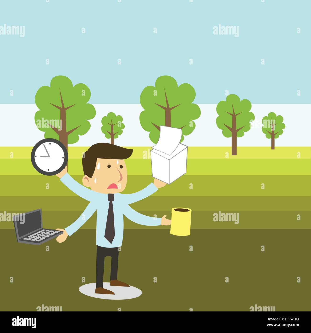 Stressed Out Male Employee Manager Many Armed Multitasking Meet Deadline Design business concept Empty copy space modern abstract background - Stock Vector