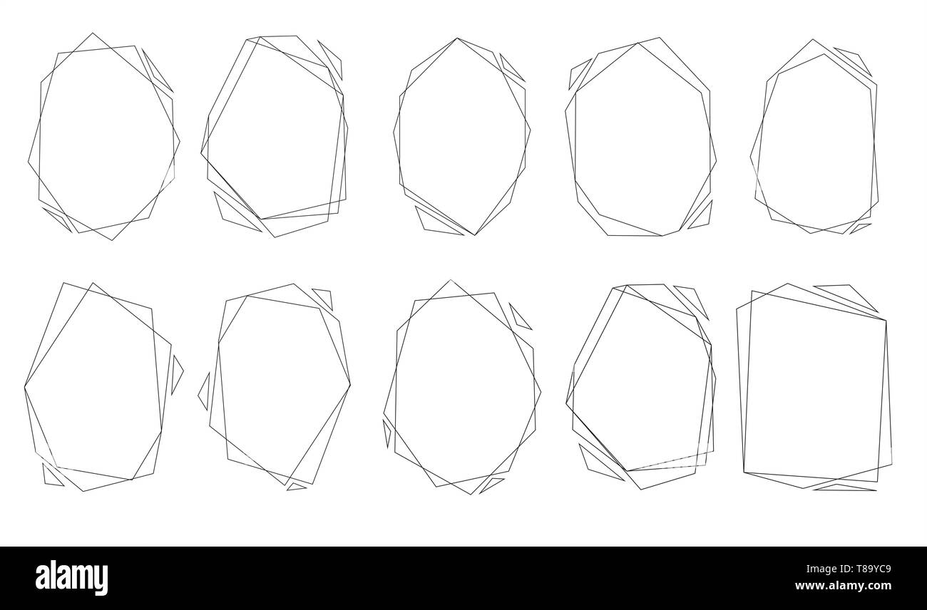 Polygonal frames set. Gold triangles, geometric shapes. Diamond shape. Great for invitation design background , banners, flyers, party posters, header - Stock Image