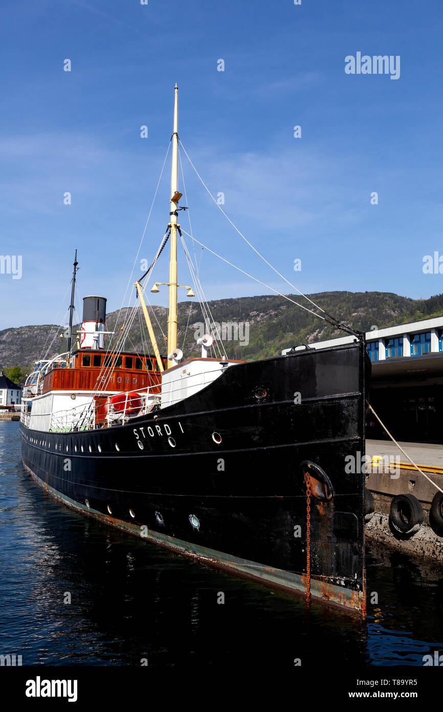 Veteran passenger steam ship Stord 1, built 1913. Berthed in the port of Bergen, Norway. - Stock Image