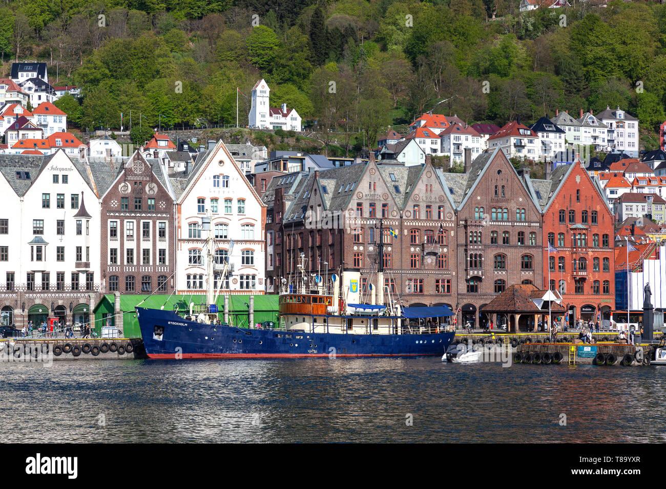 Swedish veteran passenger vessel Stockholm moored at the Hanseatic Bryggen in the port of Bergen, Norway - Stock Image