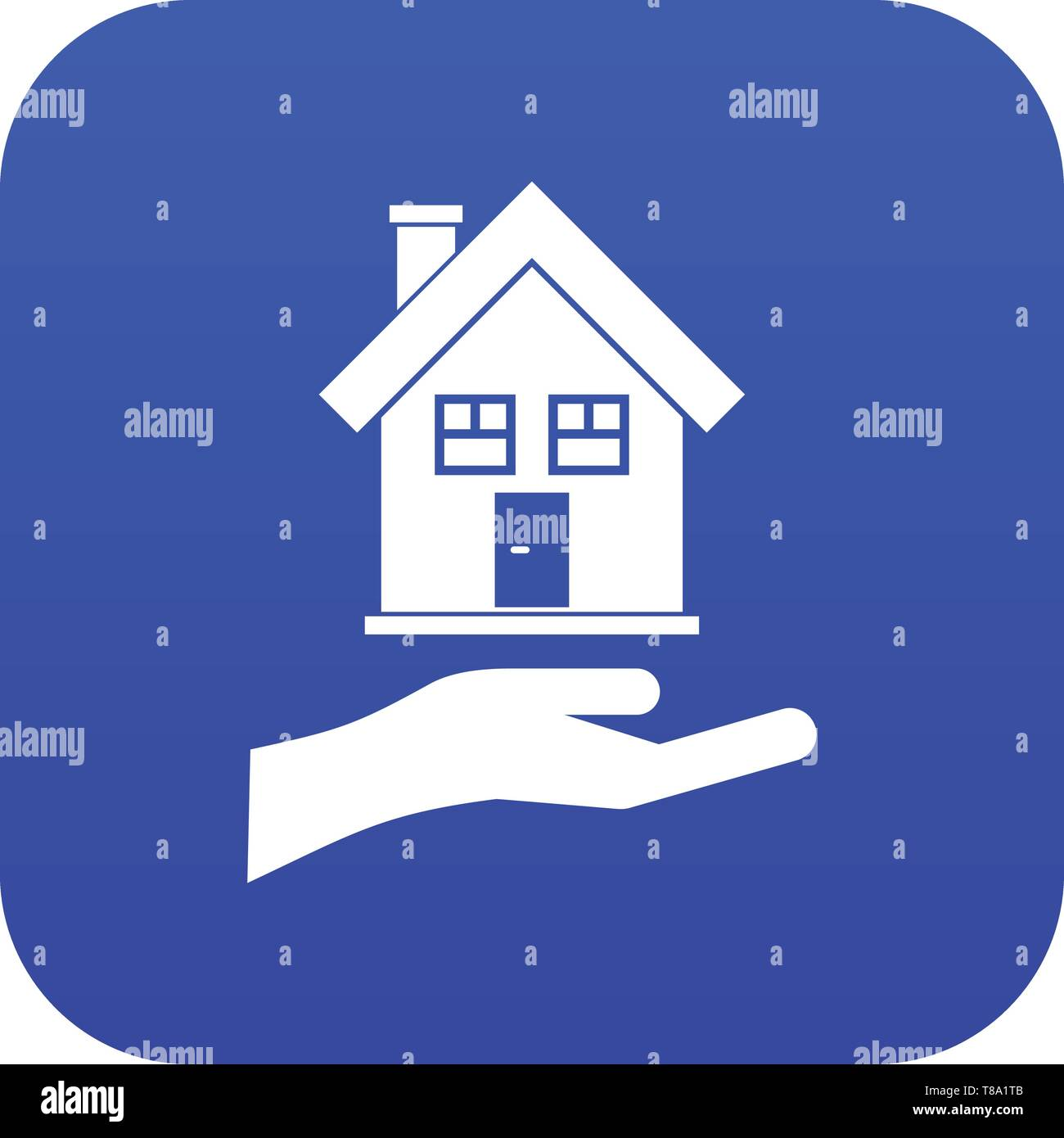 Hand holding house icon digital blue - Stock Image