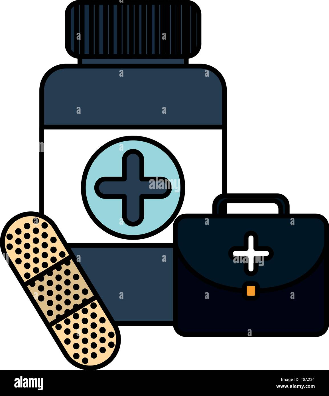 bottle drugs with kit and cure band vector illustration