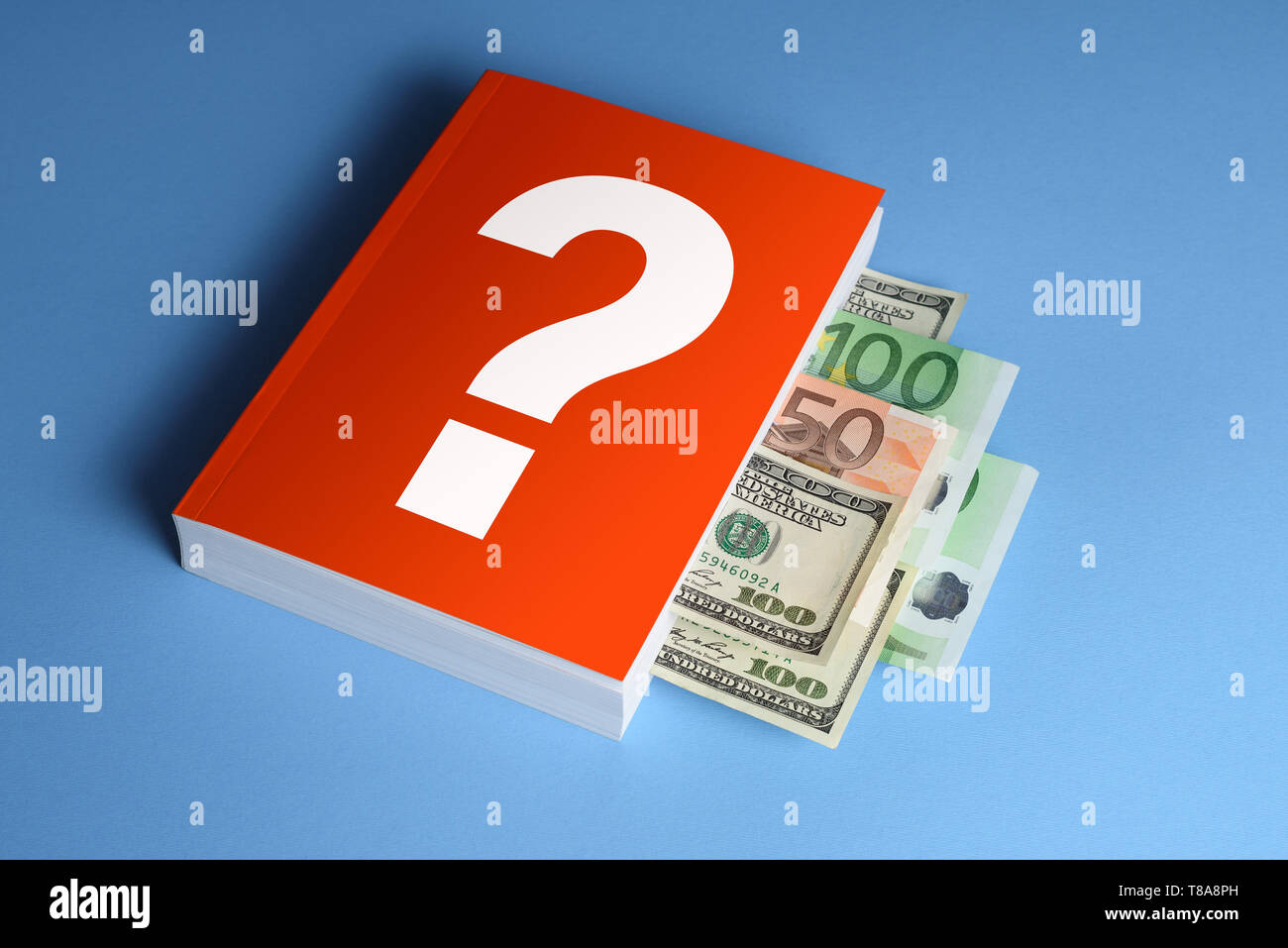 The concept of financial literacy. A book with answers to the question: how to make money and invest. Dollar and Euro banknotes between book pages - Stock Image