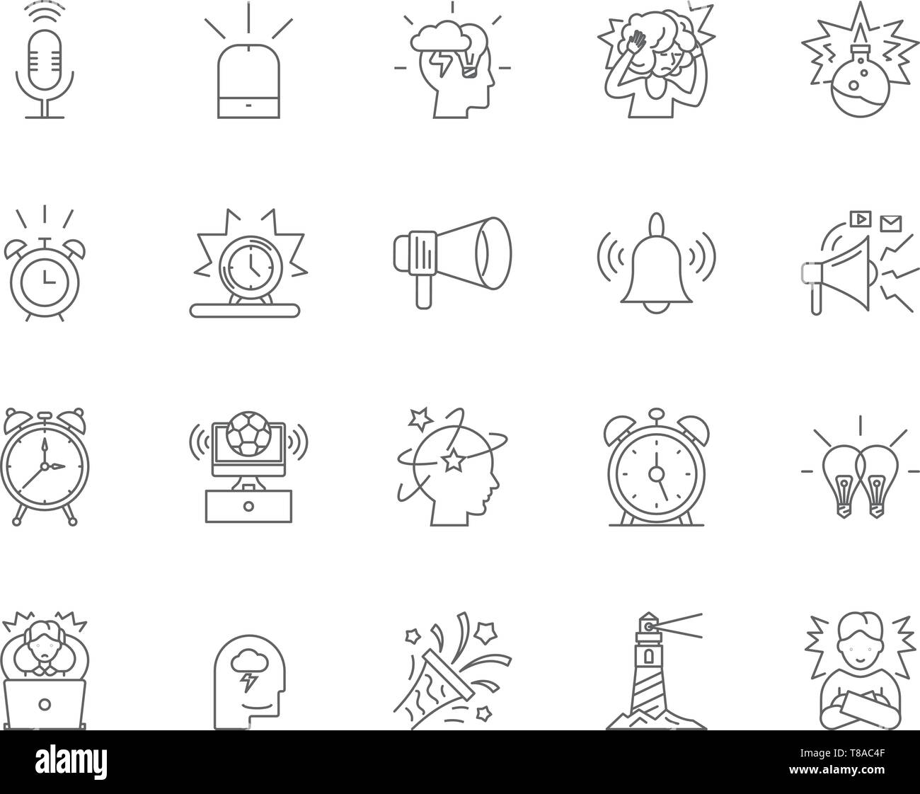 Alarm line icons, signs, vector set, outline illustration concept  - Stock Image