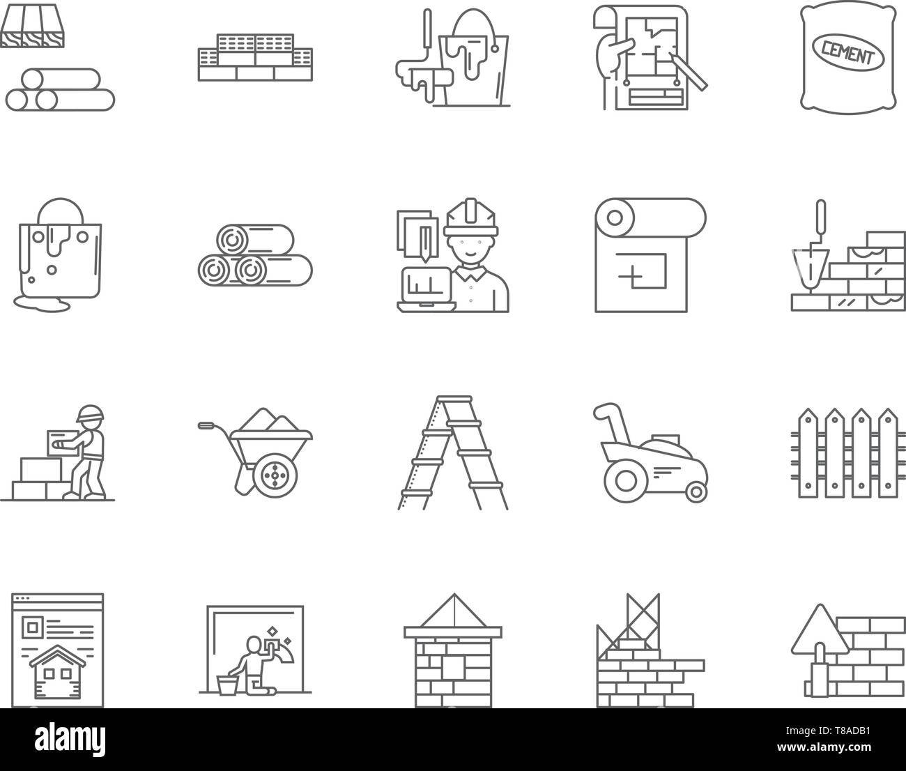 Builders merchants line icons, signs, vector set, outline illustration concept  - Stock Vector