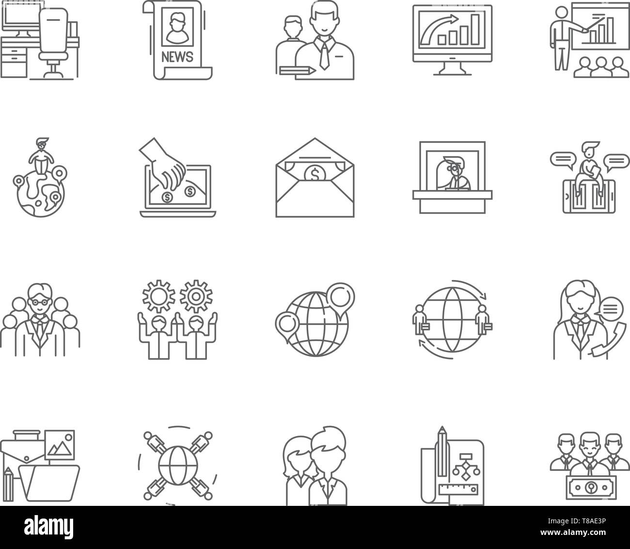 Chambers of commerce line icons, signs, vector set, outline illustration concept  - Stock Vector