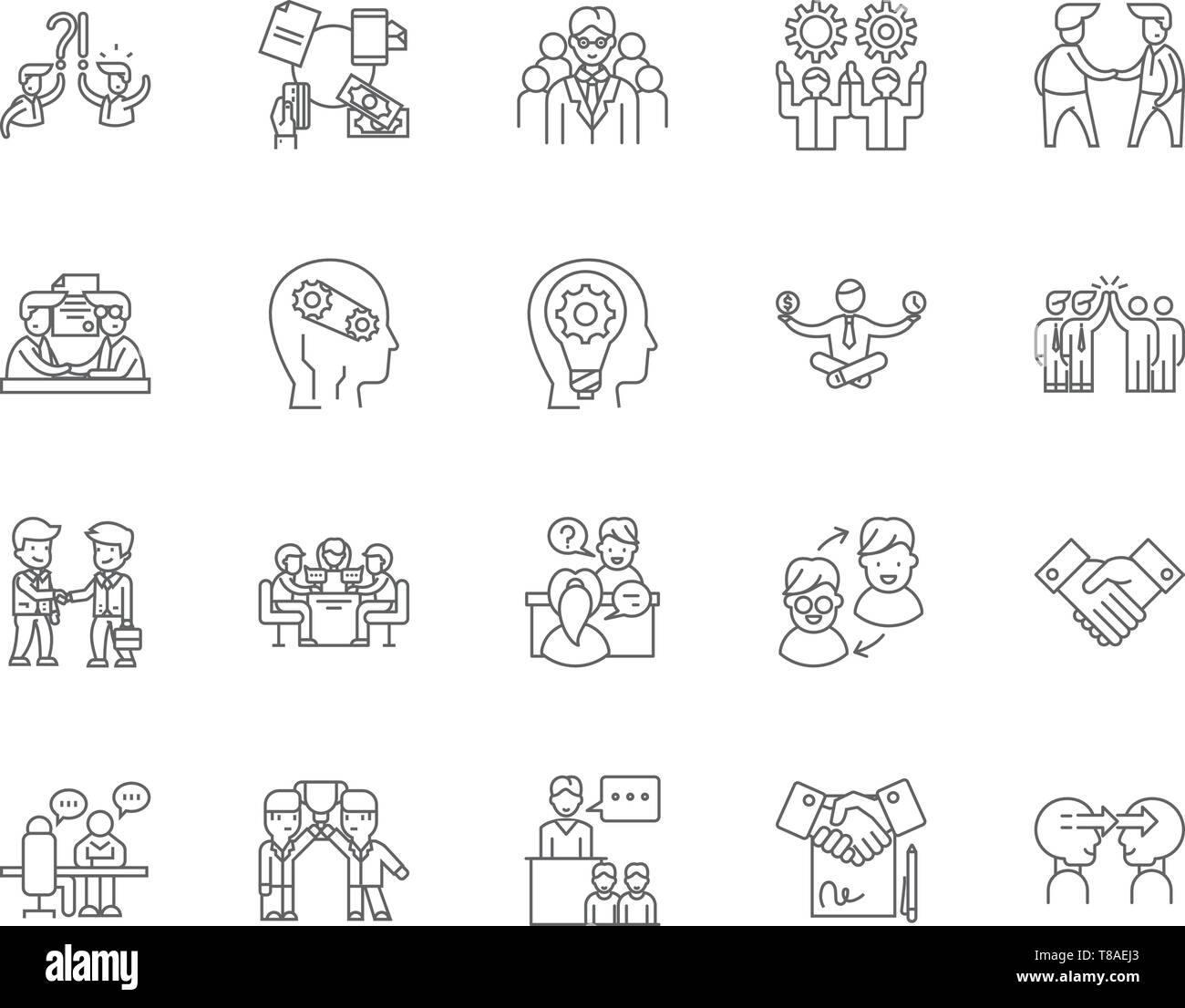 Commitment line icons, signs, vector set, outline illustration concept  Stock Vector