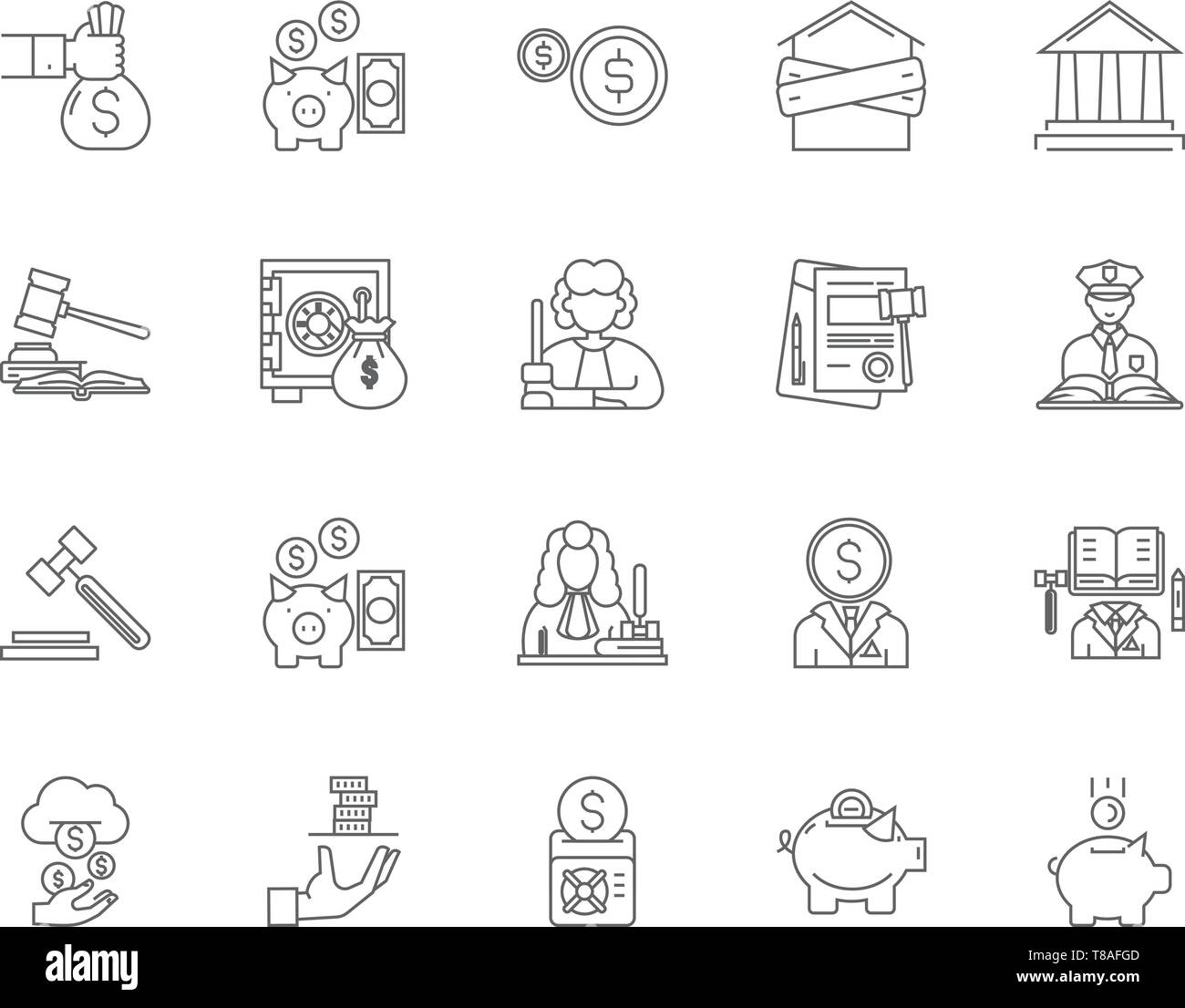 Debt collector line icons, signs, vector set, outline illustration concept  - Stock Image