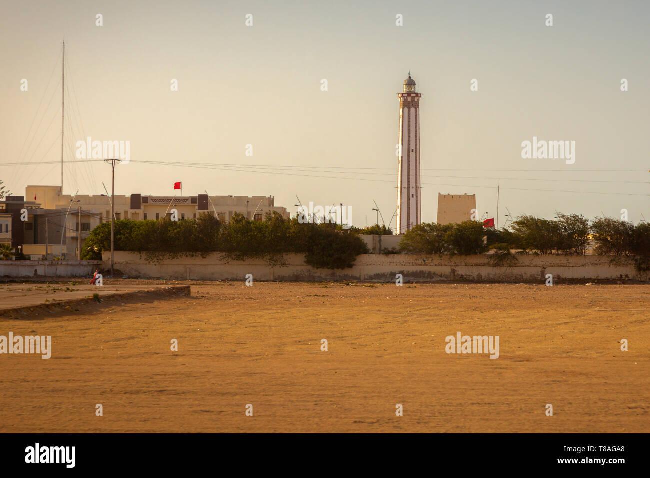 Lighthouse in Boujdour. Boujdour, Western Sahara, Morocco. - Stock Image