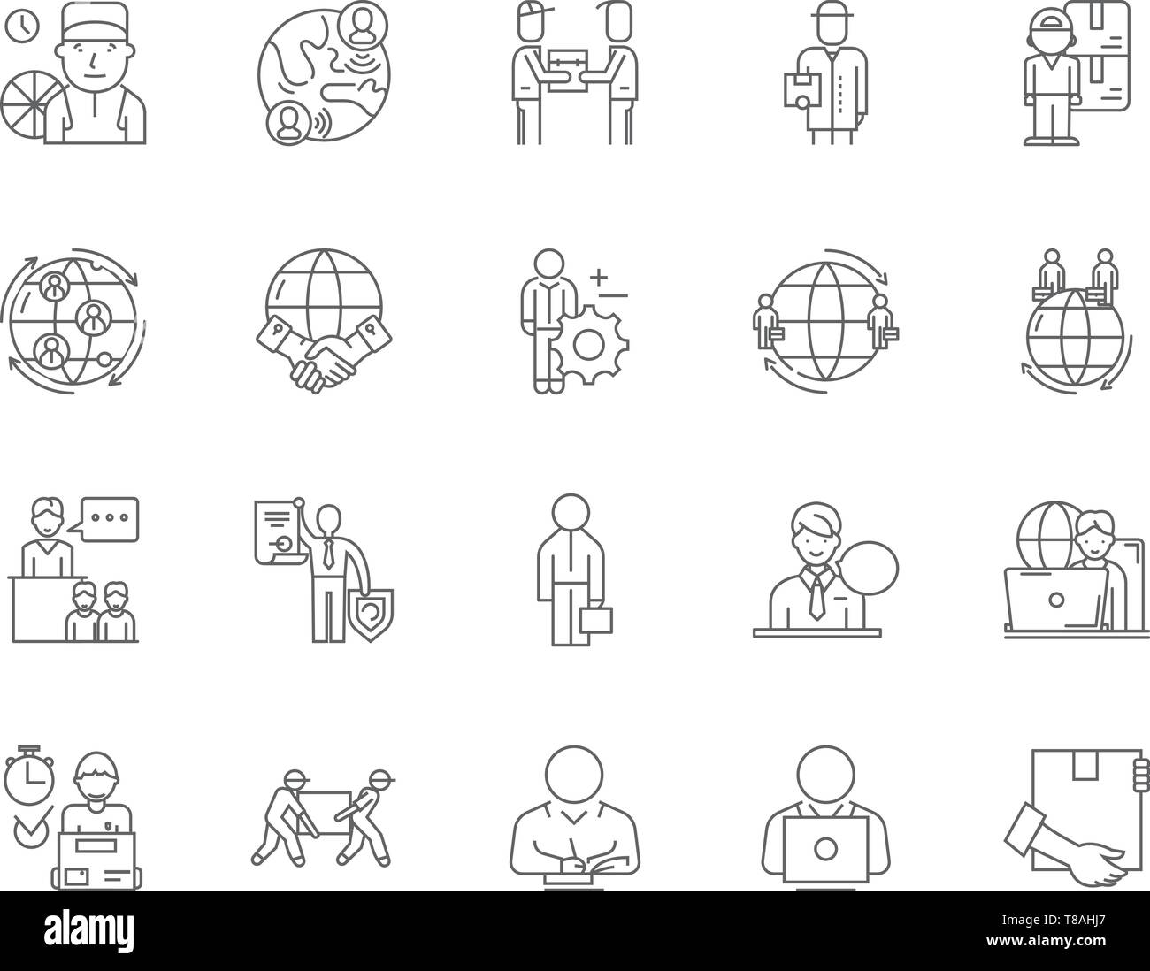 Export agents line icons, signs, vector set, outline illustration concept  - Stock Vector