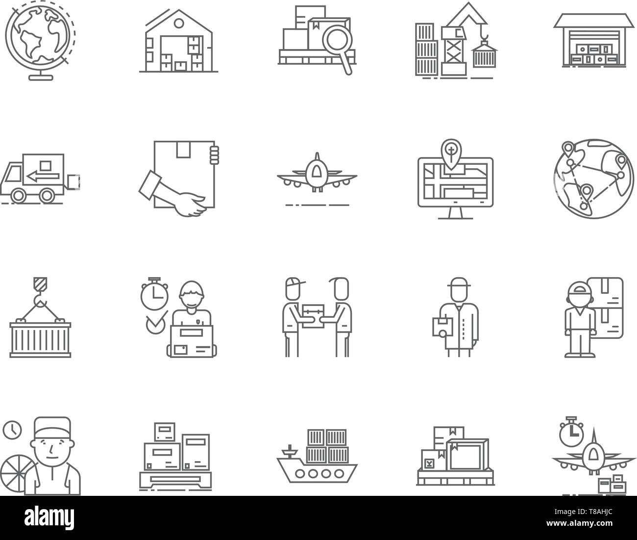 Export and import agents line icons, signs, vector set, outline illustration concept  - Stock Vector