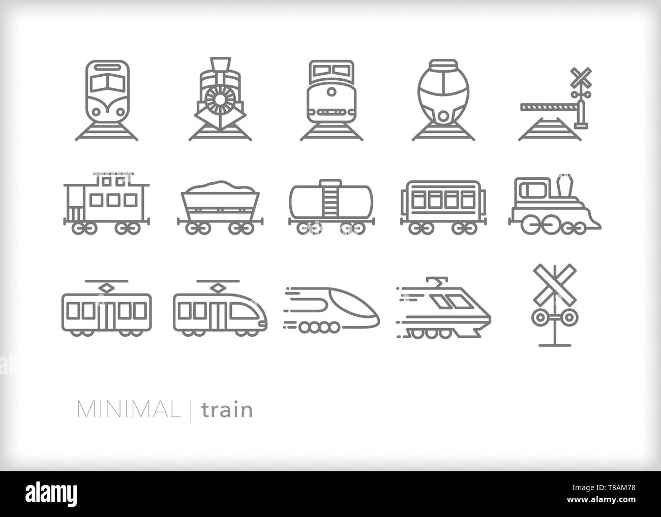 Set of 15 train line icons of freight, commuter and passenger train Stock Vector