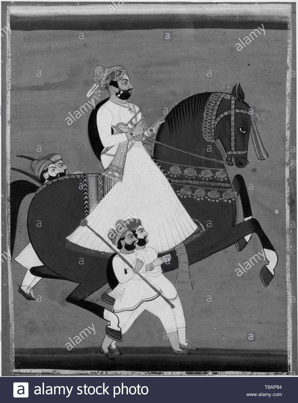 nameless-Raja on Horseback Accompanied by His Favorite Attendants - Stock Image