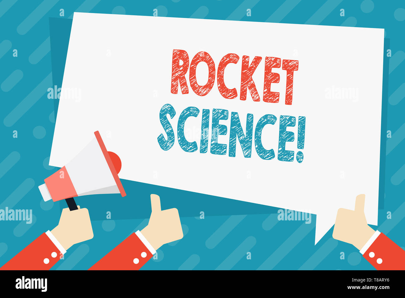 Text sign showing Rocket Science. Business photo showcasing difficult activity that you need to be intelligent to do Hand Holding Megaphone and Other  - Stock Image