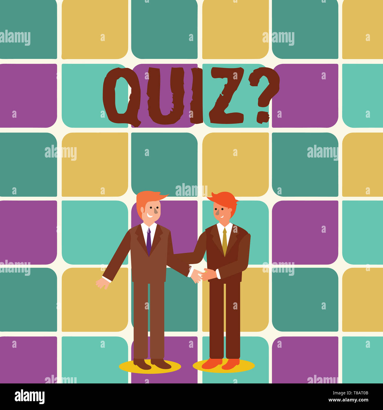 Text sign showing Quiz Question. Business photo showcasing test of knowledge as competition between individuals or teams Two Businessmen Standing, Smi - Stock Image