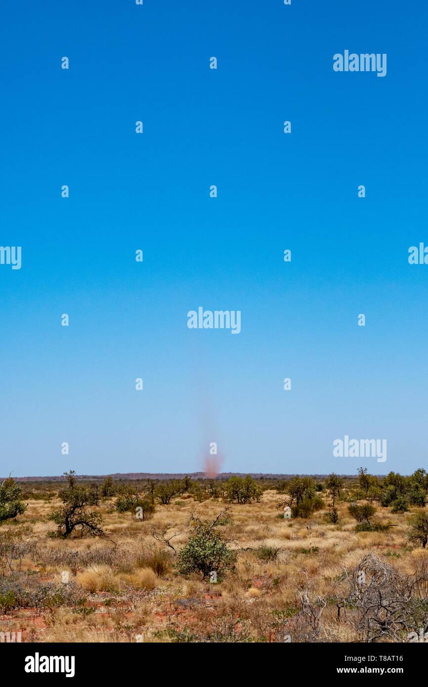 Landspout whirlwind sand tornado dust devil in Australian dessert - Stock Image