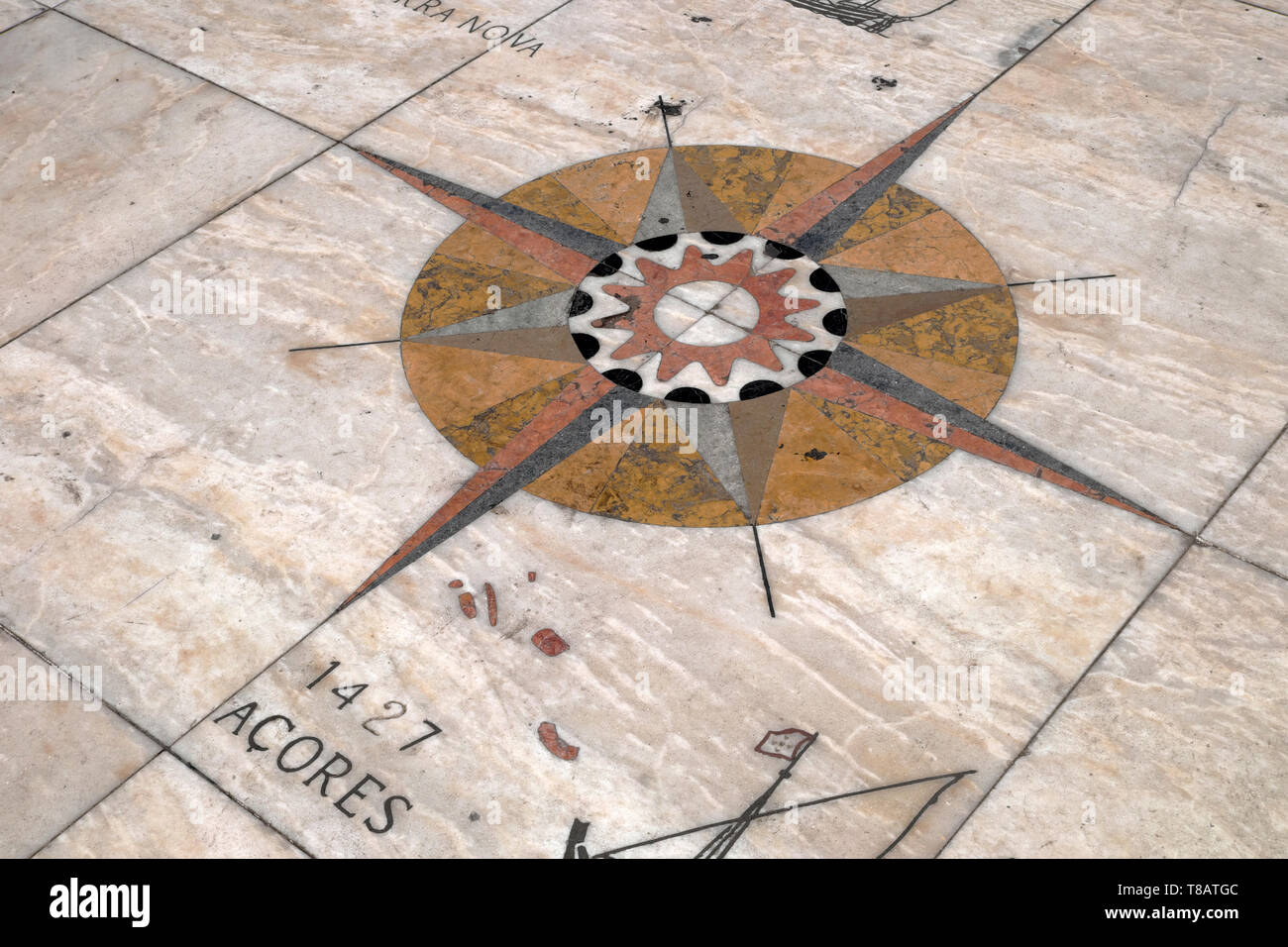 New World Map navigation compass detail pavement tiles on the Tagus River (Rio Tejo) on the waterfront Belem, Lisbon Portugal Europe EU  KATHY DEWITT - Stock Image