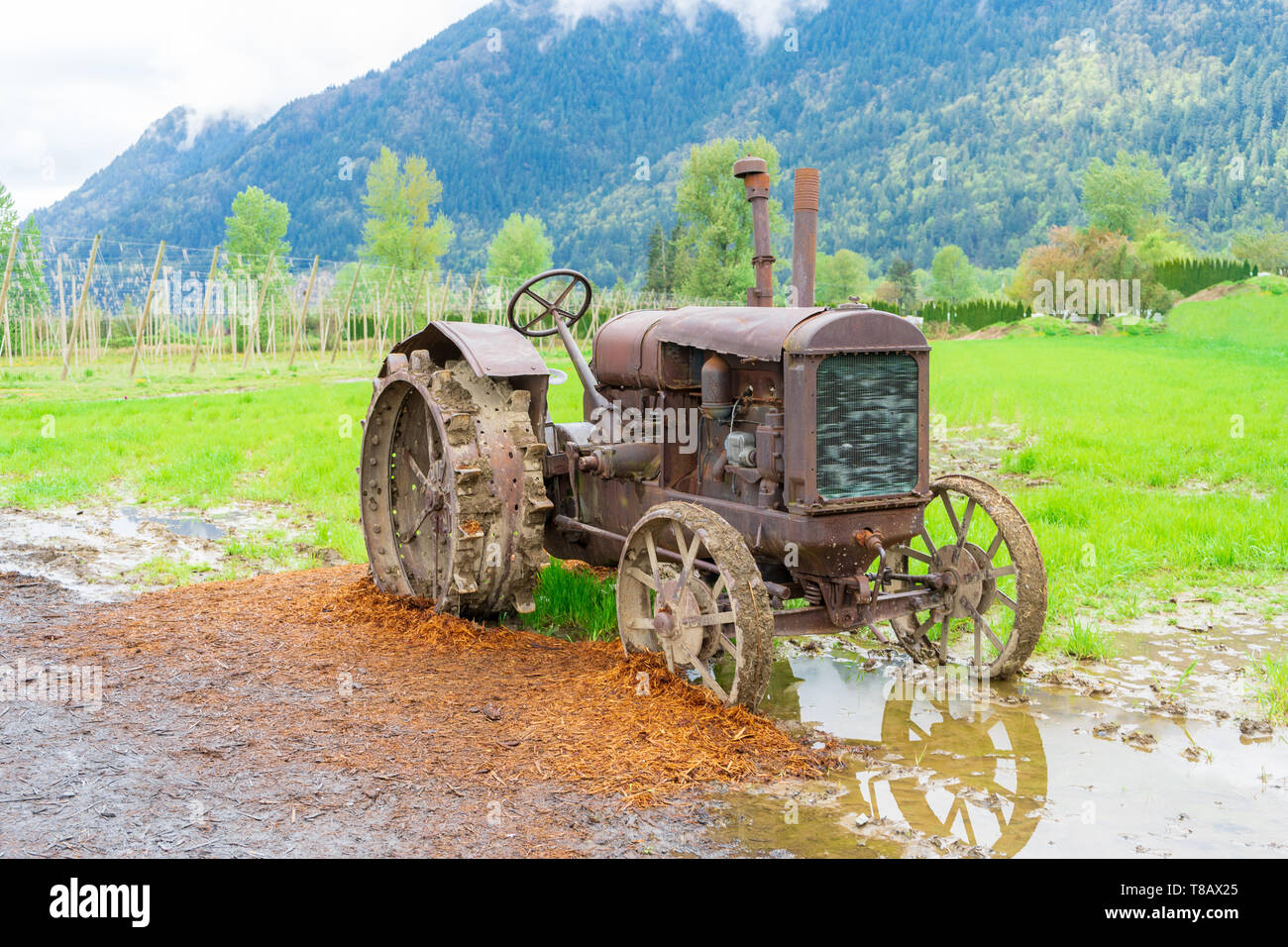 Vintage tractor farm equipment on a real farm, rusted and