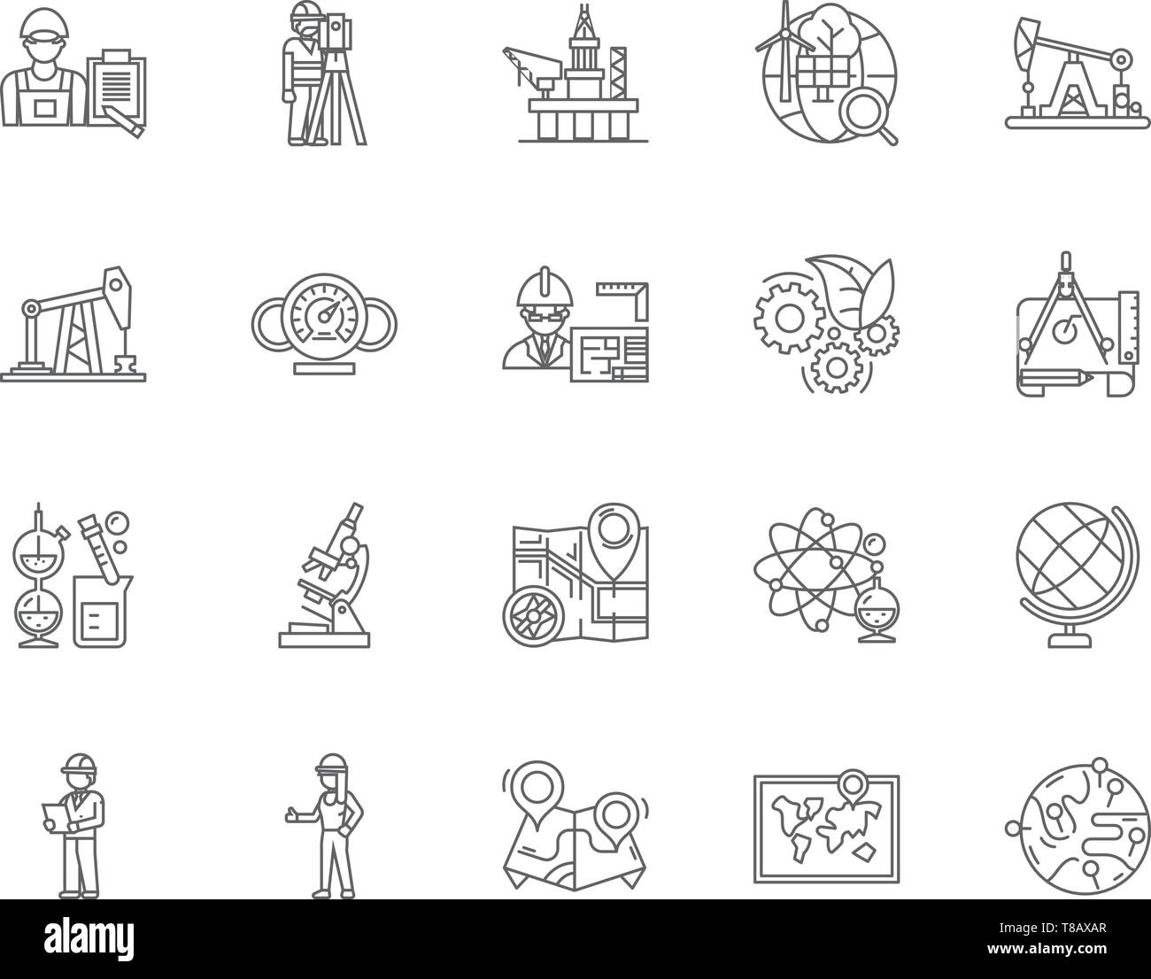 Geological services line icons, signs, vector set, outline illustration concept  - Stock Vector