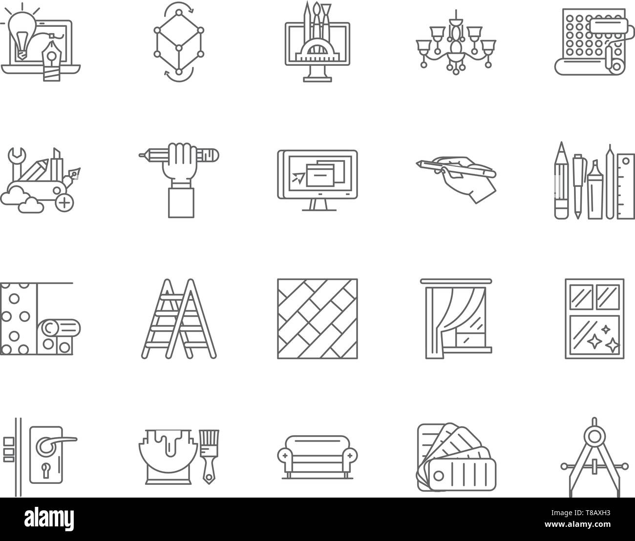Home Design Service Line Icons Signs Vector Set Outline