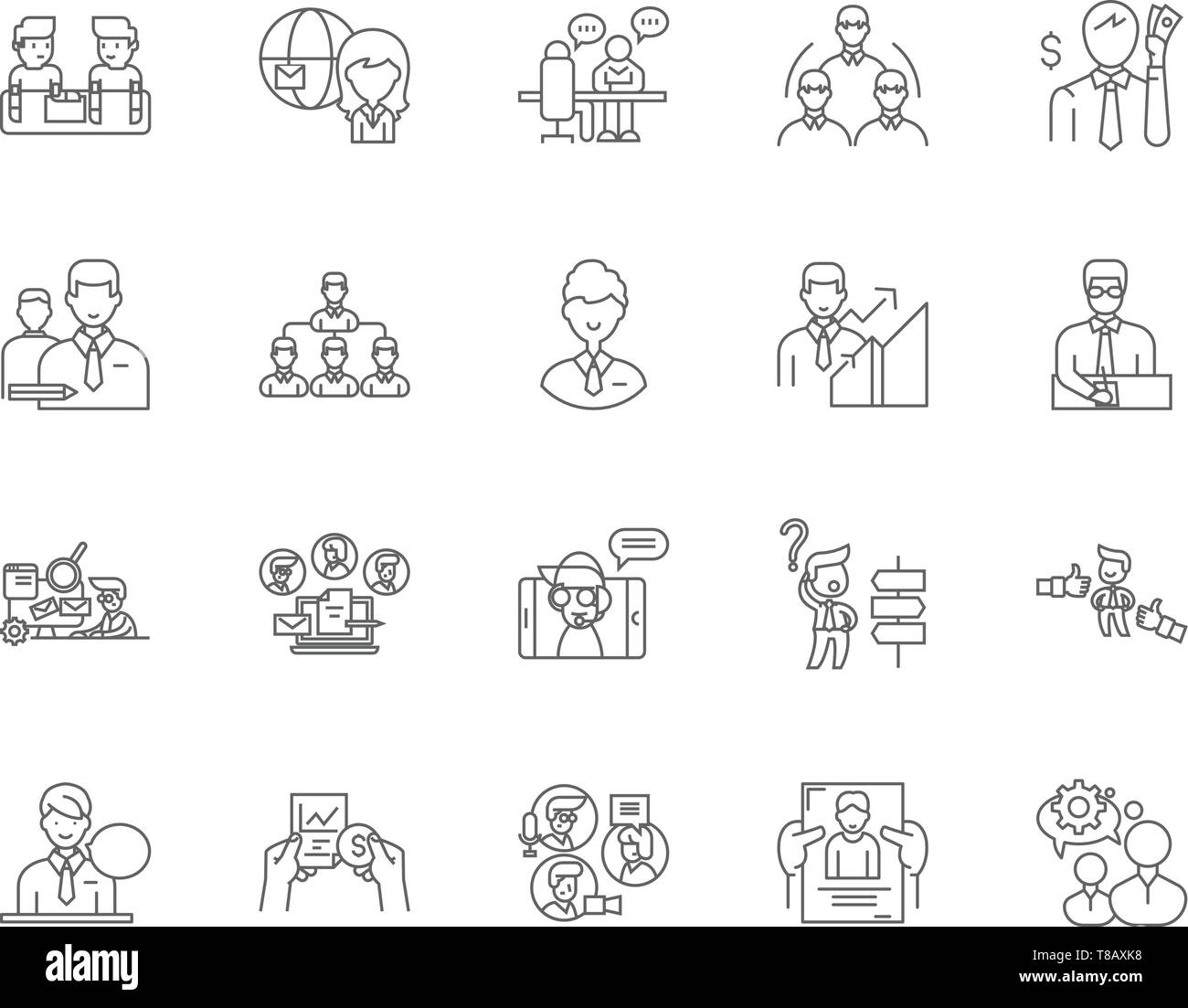 Import agents line icons, signs, vector set, outline illustration concept  - Stock Vector