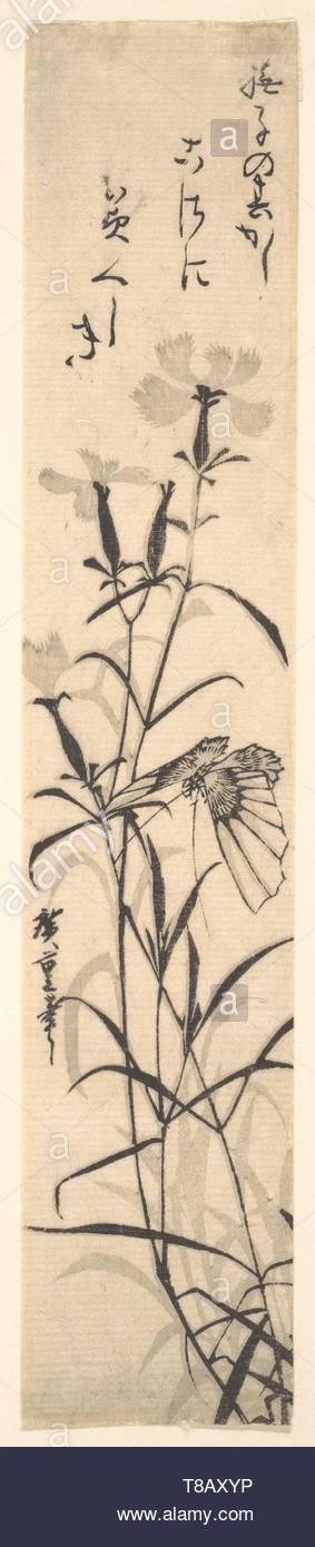 Utagawa Hiroshige-Black and White Print of Butterfly and Flower (a Pink) - Stock Image